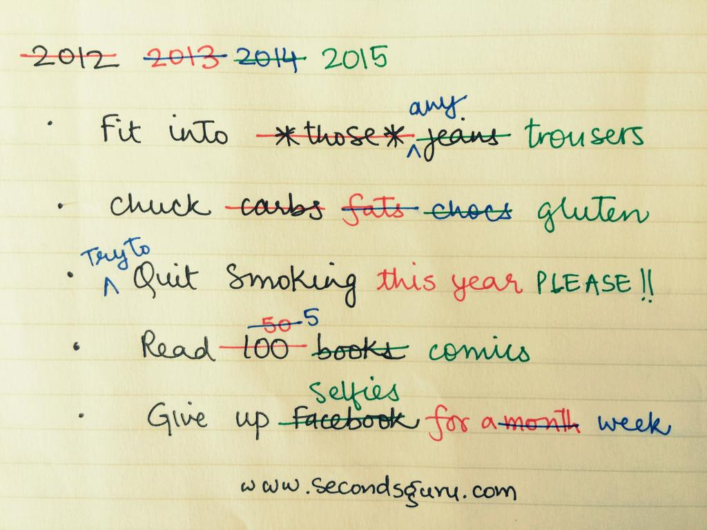 Some promises are meant to be kept. For everything else, there are New Year Resolutions! Secondsguru.com lists 5 promises we all make (and break) repeatedly