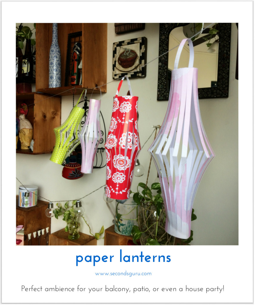 Reuse old/leftover wrapping to create paper lanterns. Create perfect ambience for your balcony, patio or even a house party!