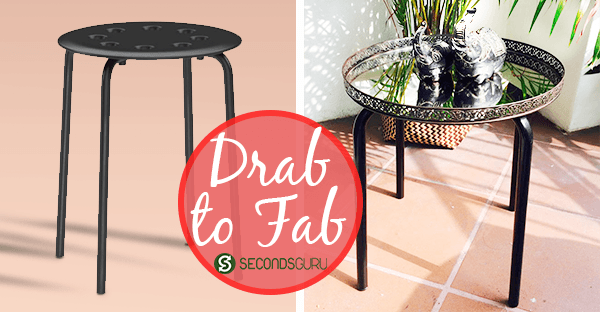 Drab to Fab| IKEA Stool Makeover- An old Ikea stool transformed to a stylish side table: DIY inspiration for the maker in us! Click through to find out more