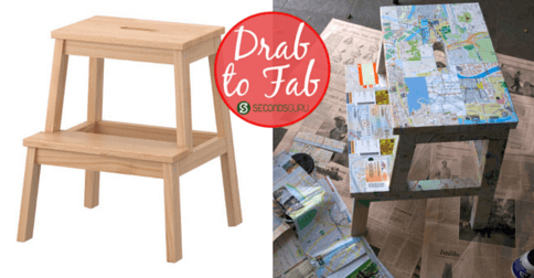 Drab to Fab | Ikea step-stool makeover. An easy DIY to transform Bekvam or any wooden stool into an arty-crafty piece of furniture!