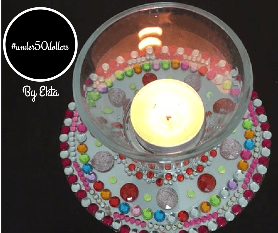 Under50dollars   Engage young kids in this sparkly DIY project this Diwali! You can upcycle old CDs into diya / tealight bases and see how a small budget can yield immense glitter!