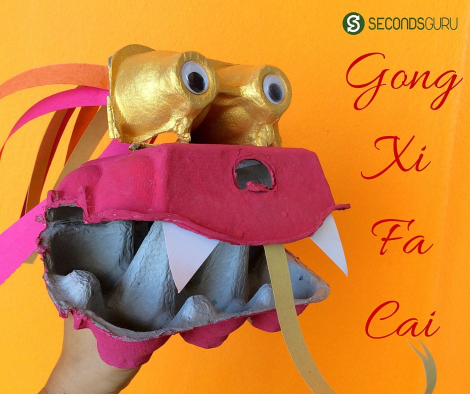 Gong Xi Fa Cai! Chinese New Year crafts for kids | make a dragon puppet out of egg boxes