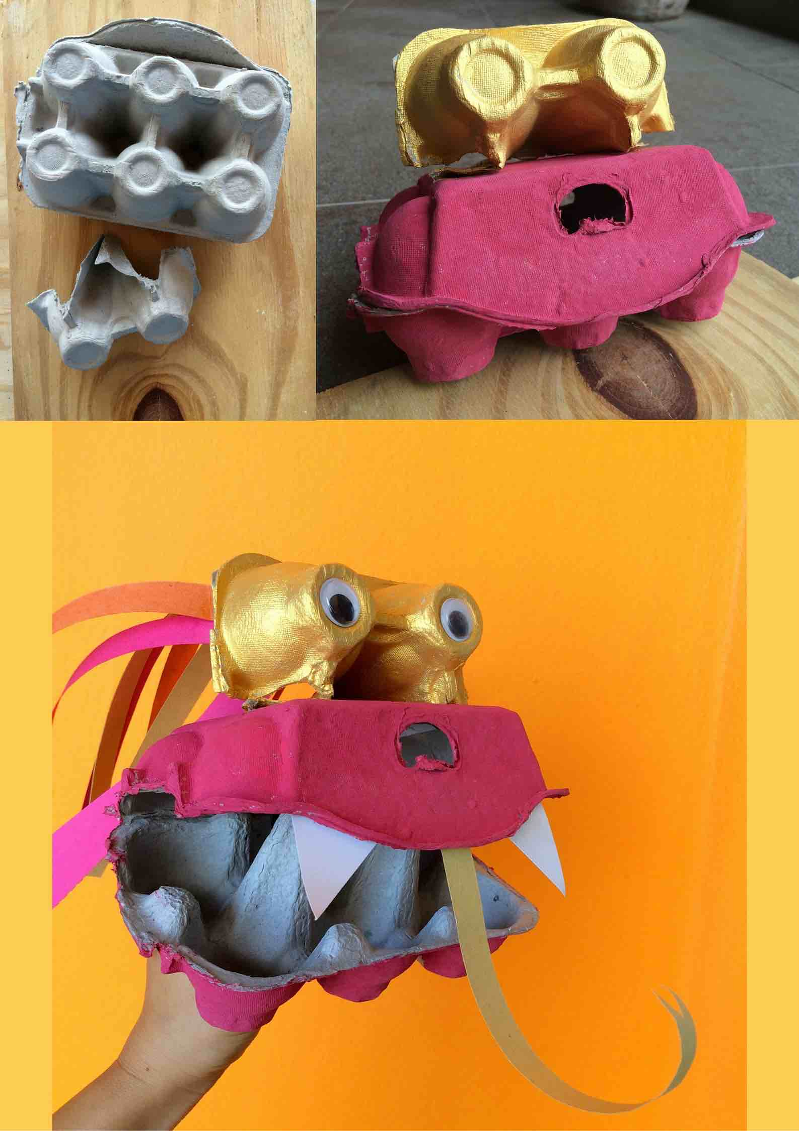 Chinese New Year crafts for kids | Make a dragon puppet out of egg boxes