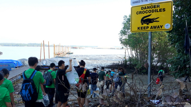Beach cleanup at Lim Chu Kang mangroves site.
