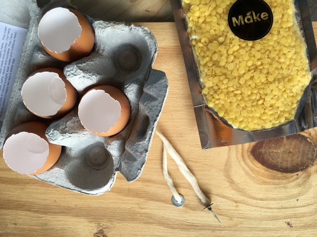 what you need to make eggshell candles for Easter crafts