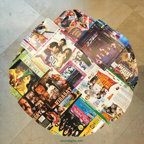Ikeahack   Side-table lindved gets a kitsch makeover with old Bollywood DVD covers