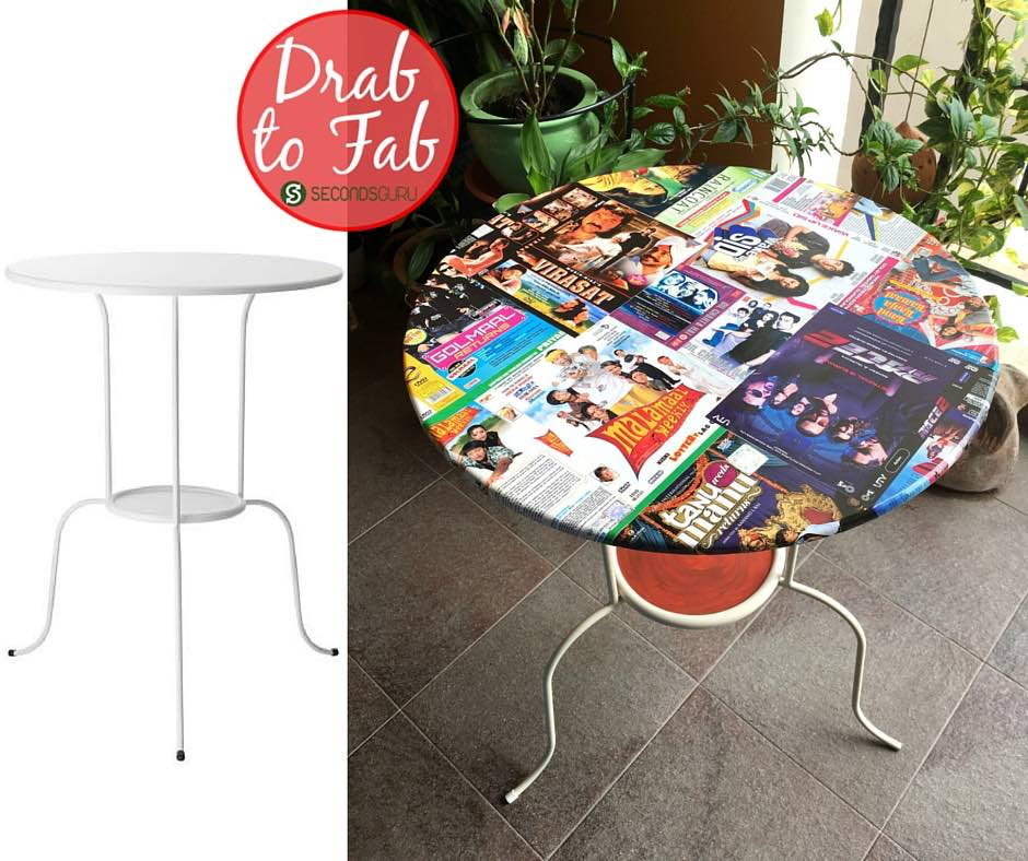 Ikeahack | Side-table lindved gets a kitsch makeover with old Bollywood DVD covers