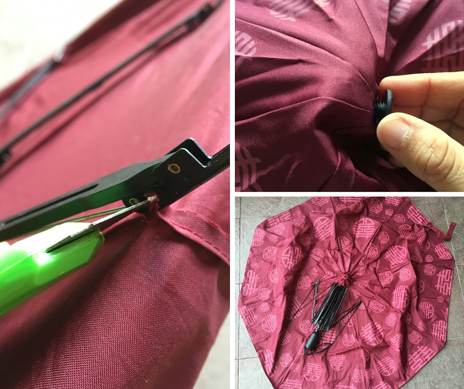 Upcycle umbrella to tote bag! Step 1: Strip the cloth with care