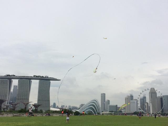 Kite flying at Marina Barrage, Singapore