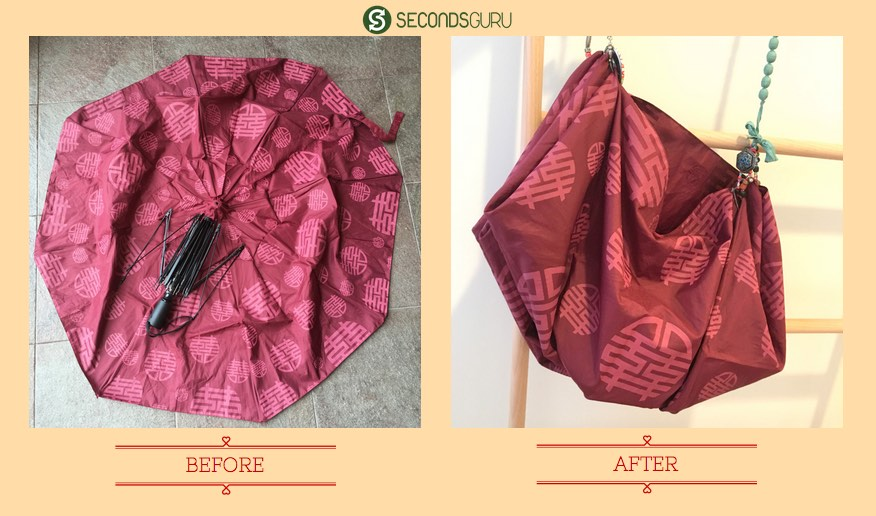 Old umbrella to tote bag | The durable, waterproof fabric of the umbrella is perfect for repurposing into a stylish shoulder bag!