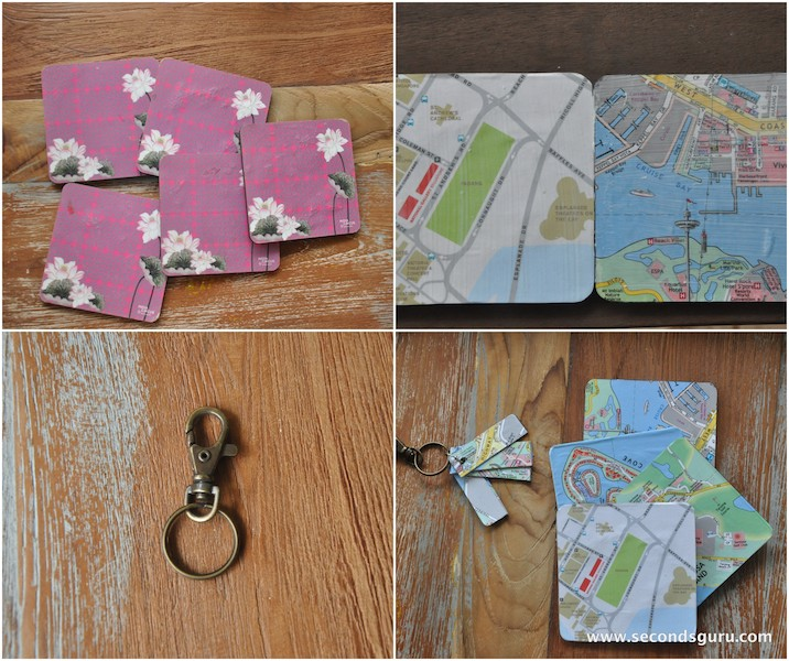 use paper maps to make keychains and coasters