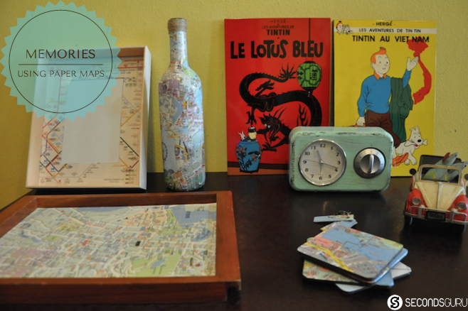Hand made souvenirs using glossy paper maps