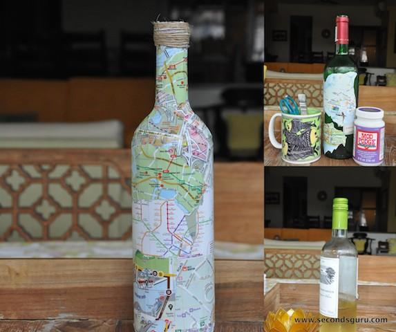 Old maps to wine bottle souvenir