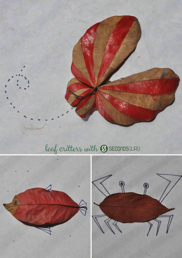 Lazy summer day crafts for kids   Collect a pile of fallen, dried leaves and paint them over to create leaf creatures. An easy, fun activity to keep children occupied on a holiday!