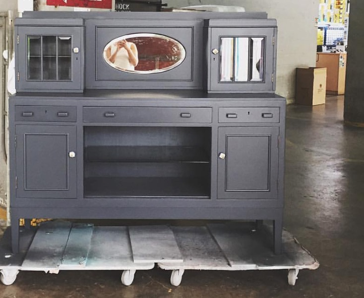Refurbished anthracite buffet with blue porcelain knobs available for $1,200 at Hock Siong