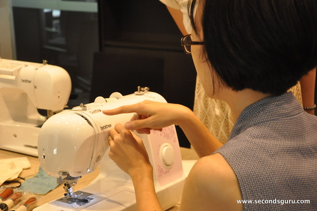 Agatha Lee explains how the sewing machine works