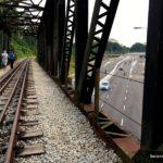 Walking the Green Corridor - overhead bridge next to Rail Mall, Hillview