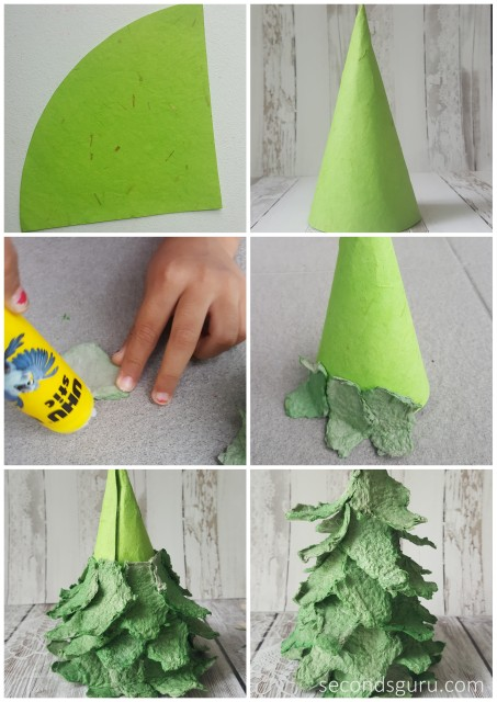 Kids Crafts | Create A Miniature Christmas Tree Out Of Egg Cartons! A Fun  Holiday