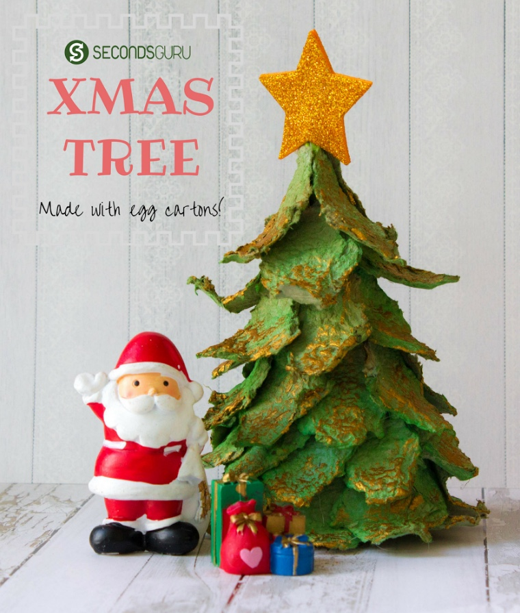 Kids crafts make a mini christmas tree out of egg for Christmas decorations using egg cartons