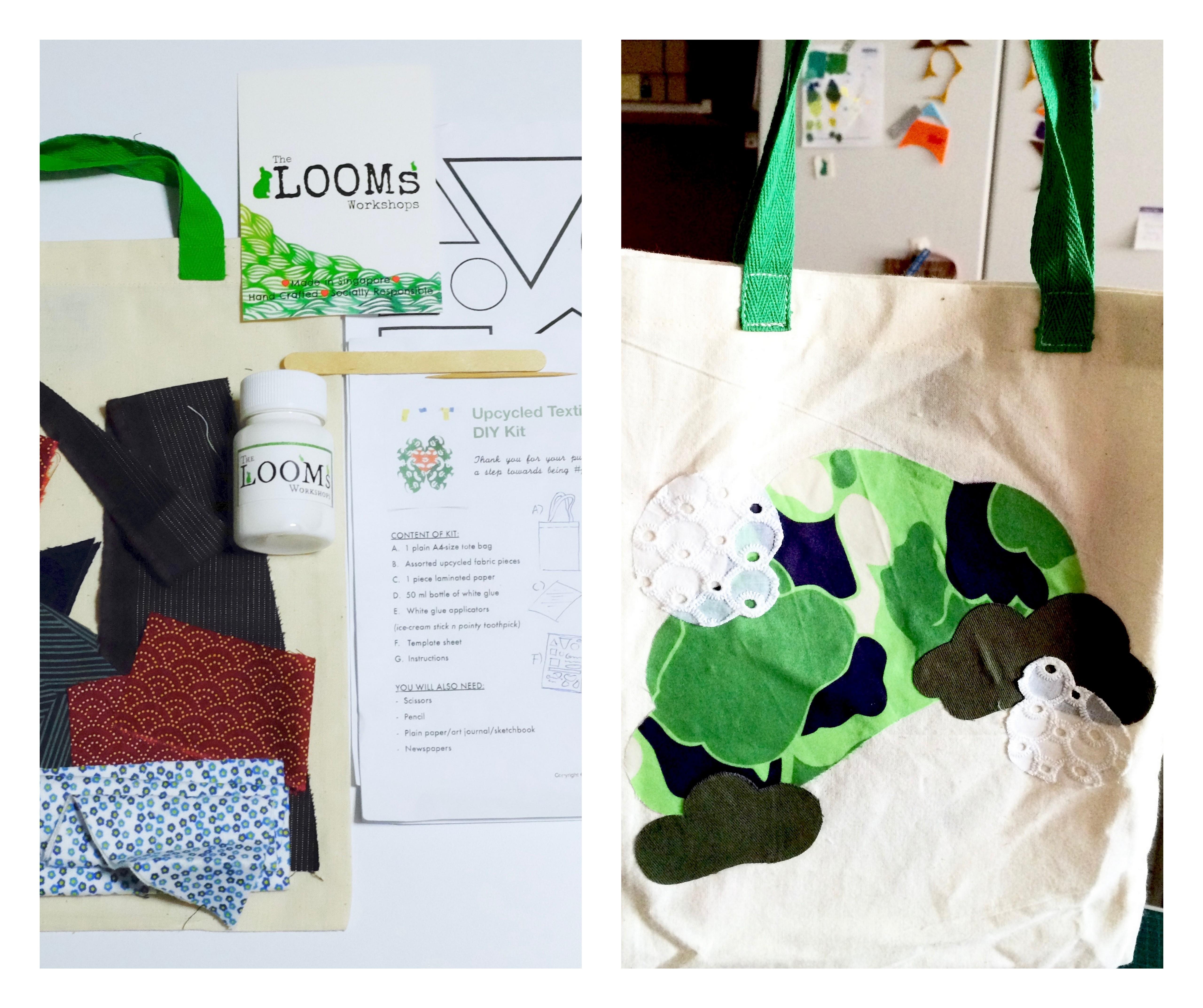 Looms workshop, diy , tote bag, upcycle