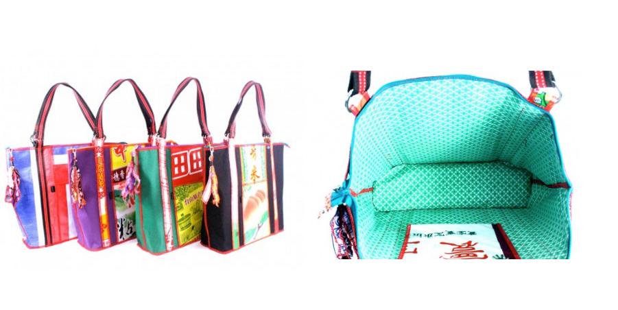 bez and oho upcycled rice sack bags, secondsguru