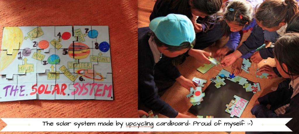 upcycled ardboard puzzle, solar system,secondsguru, ananya