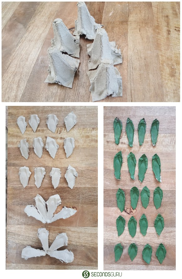 Egg carton craft | tearing and coloring to make succulent leaves