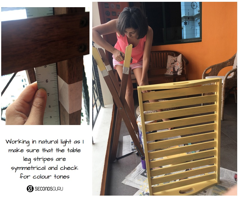 DrabtoFab | Converting a dusty, abandoned wooden tray table into a bright piece with dip-dye legs.
