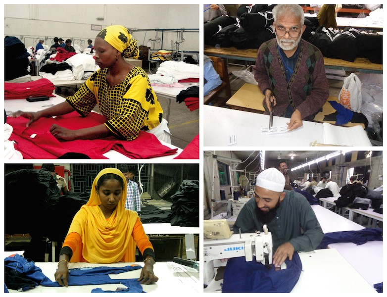 Workers at decent working conditions in various factories that manufacture clothes for Mantis World