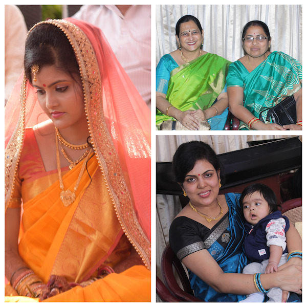 Bride and her family in traditional hand weaved sarees