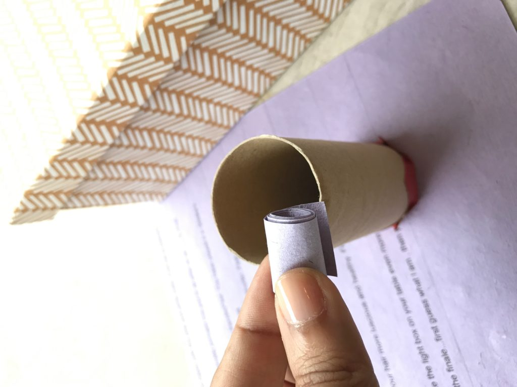 Message rolls in the toilet paper roll for advent calendar