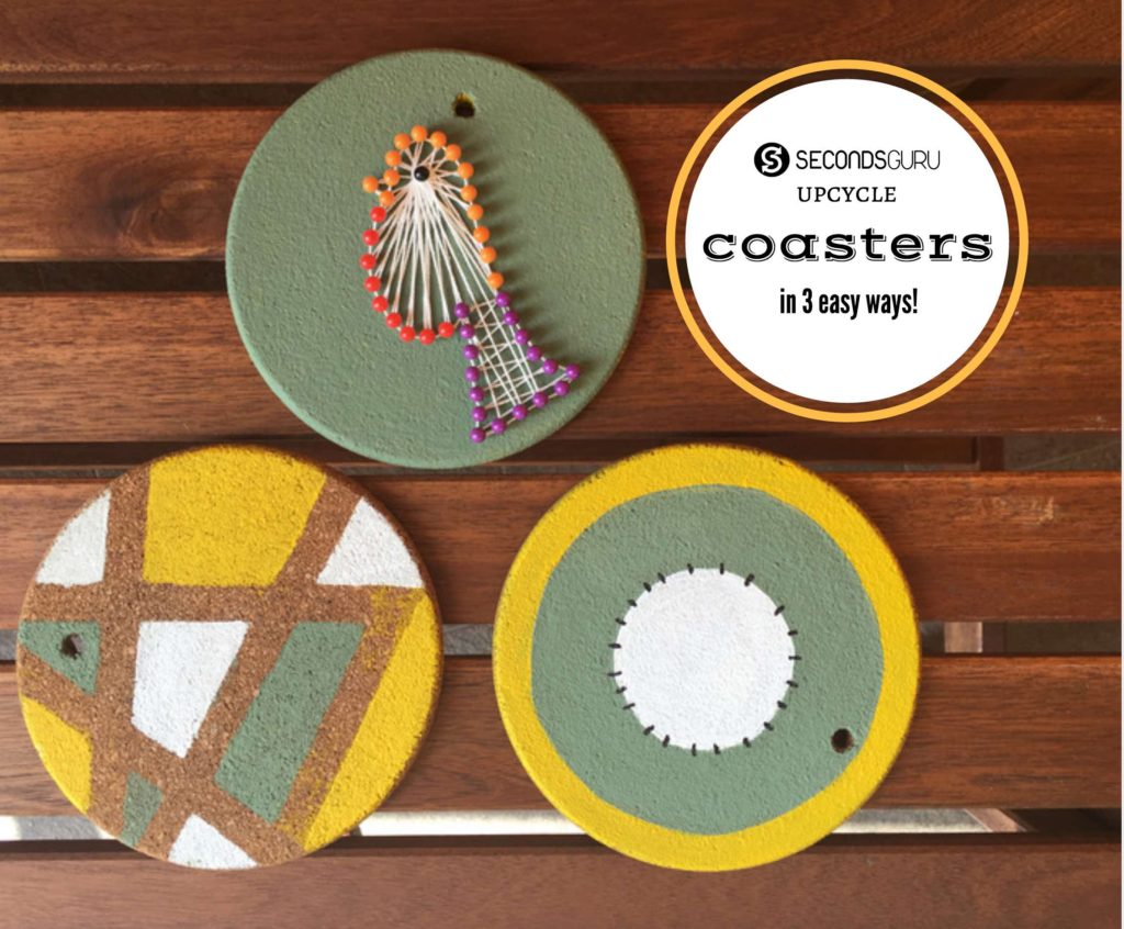 upcycle coasters with paint and thread art