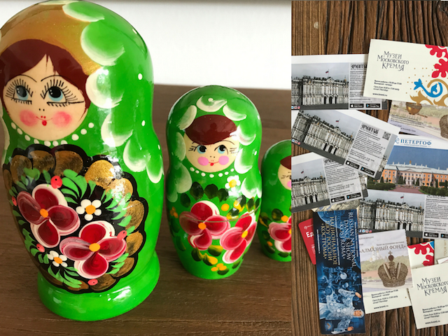 matryoshka dolls maps souvenirs from russia