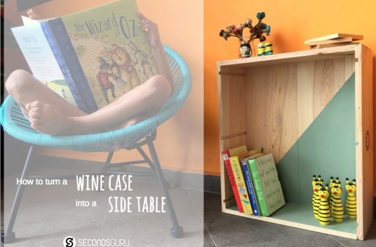 wine case to side table upcycle