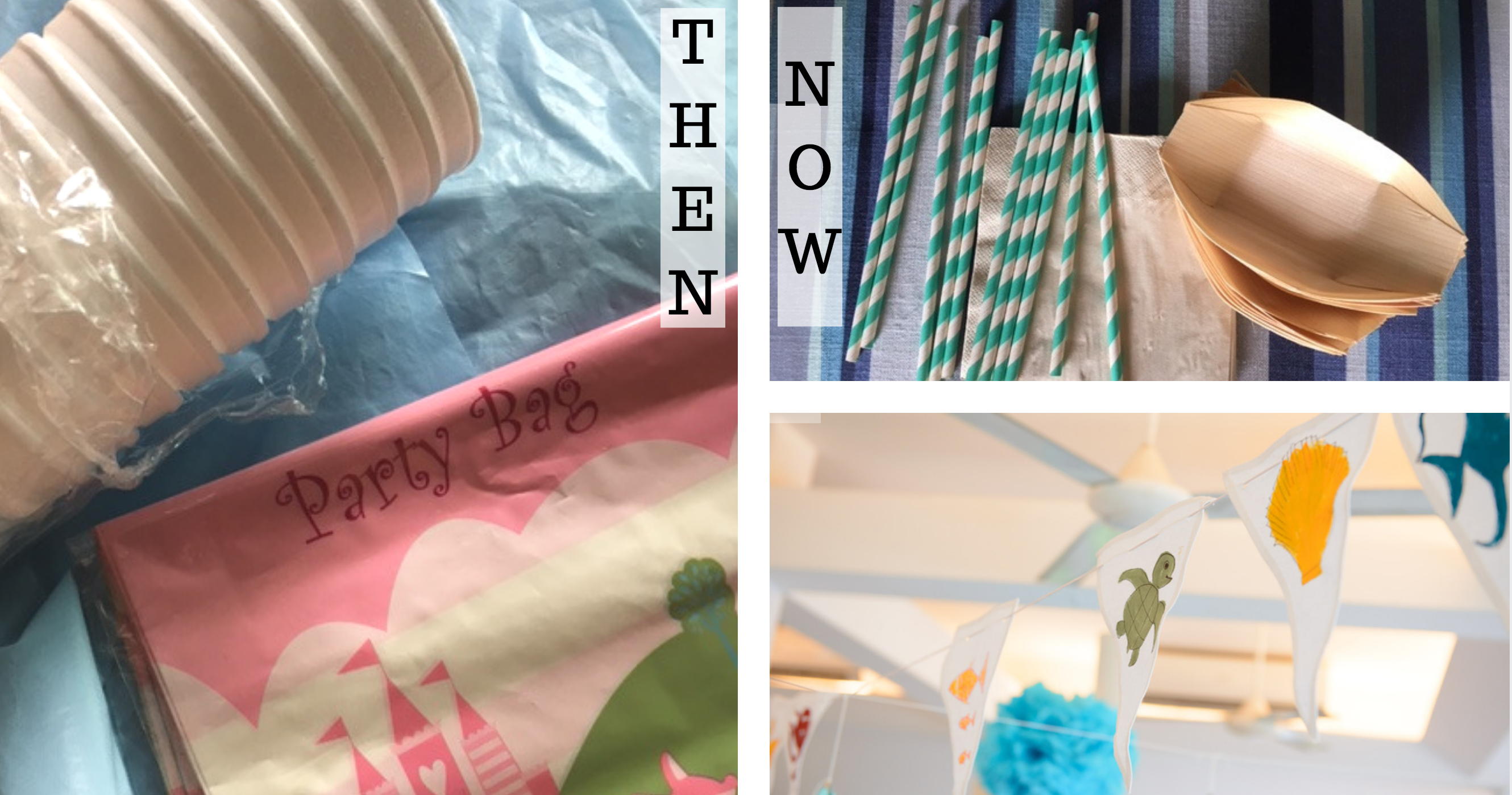 Then and Now: I have been guilty of using styrofoam glasses, cheap tablecovers that can't last and glitzy platic goodie bags in the past. Fast forward to nowadays - using cloth to create long-lasting and unique decor, plant-based disposables and paper straws.