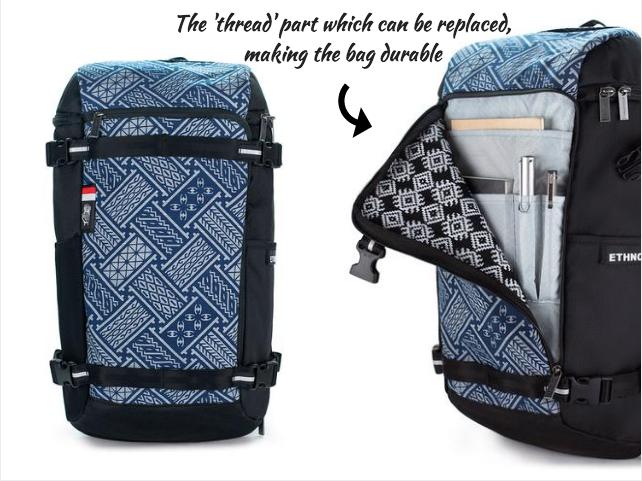 ethnotek bagpack recycled PET bottle bag hand crafted