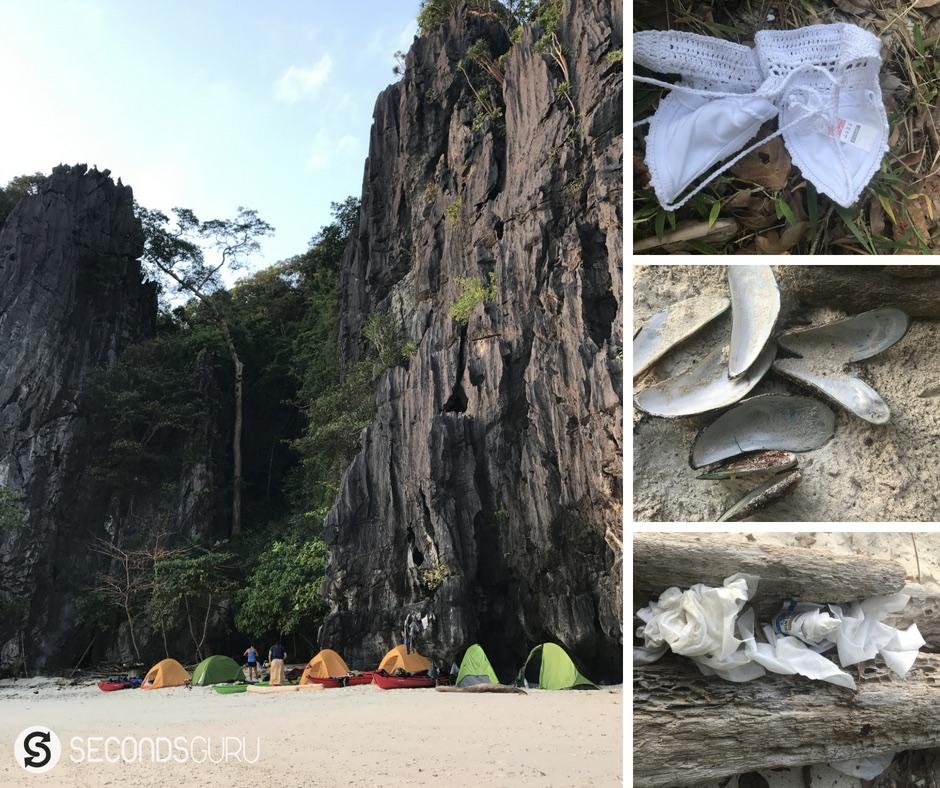 palawan beach trash