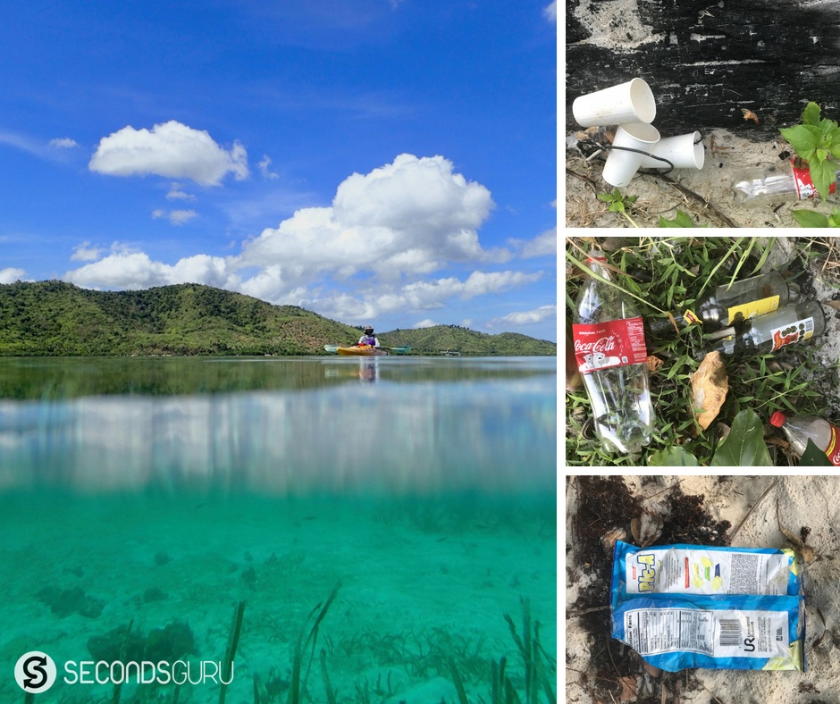 littering on Philippines's pristine beaches