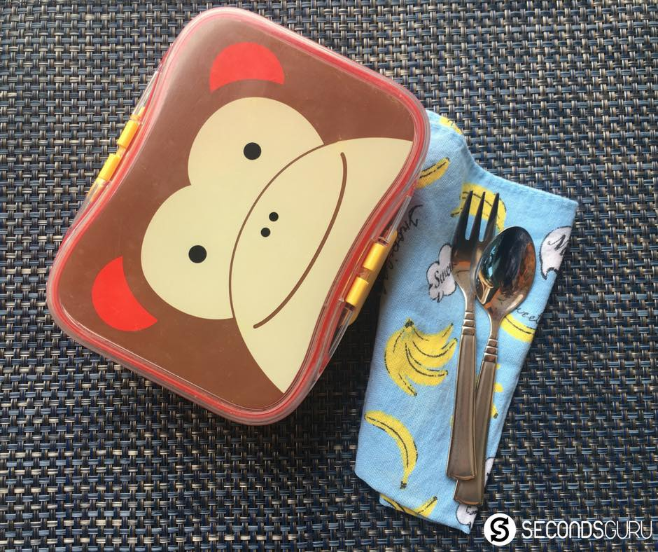 stainless steel cutlery and sturdy plastic lunchbox
