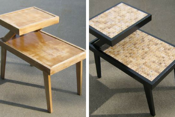 DIY upcycle old furniture table scrabble tiles