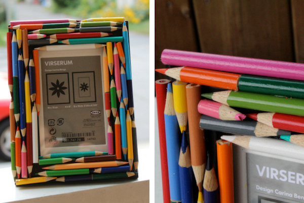 broken color pencil diy photo frame easy