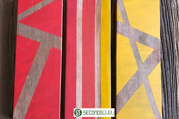 color block painting on wood acrylic paint