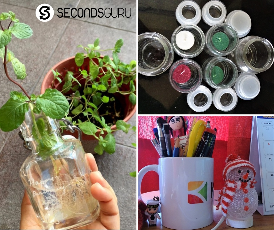 Reusing Glassware - Jars, Bottles and even broken cups!