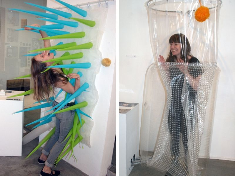 spike shower curtain helps save water