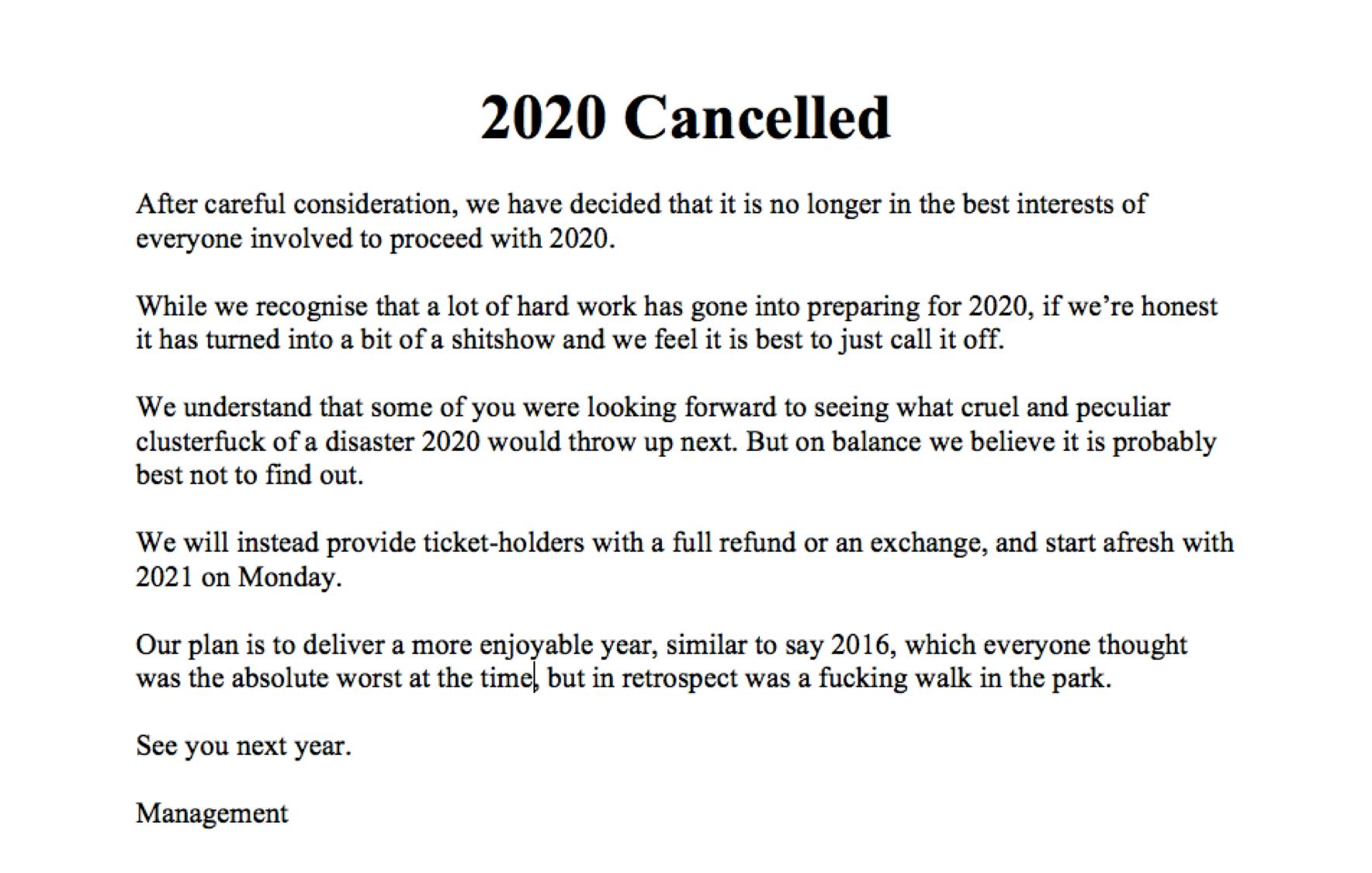 2020 cancelled meme