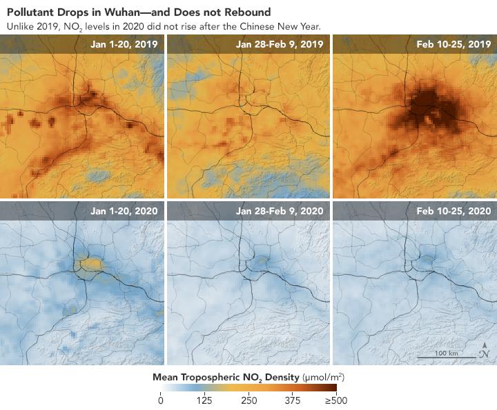 NASA satellite images coronavirus impact
