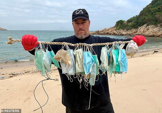 disposable face masks on beach oaceanasia gary stokes