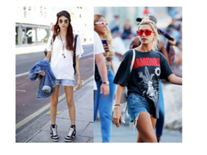 tee with denim shorts