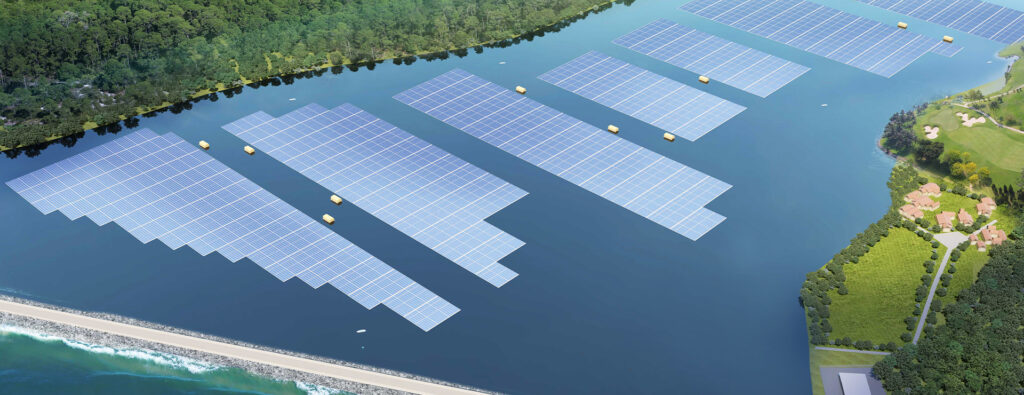 Located at Tengeh Reservoir this solar photovoltaic (PV) farm is one of the world's largest inland floating solar PV systems